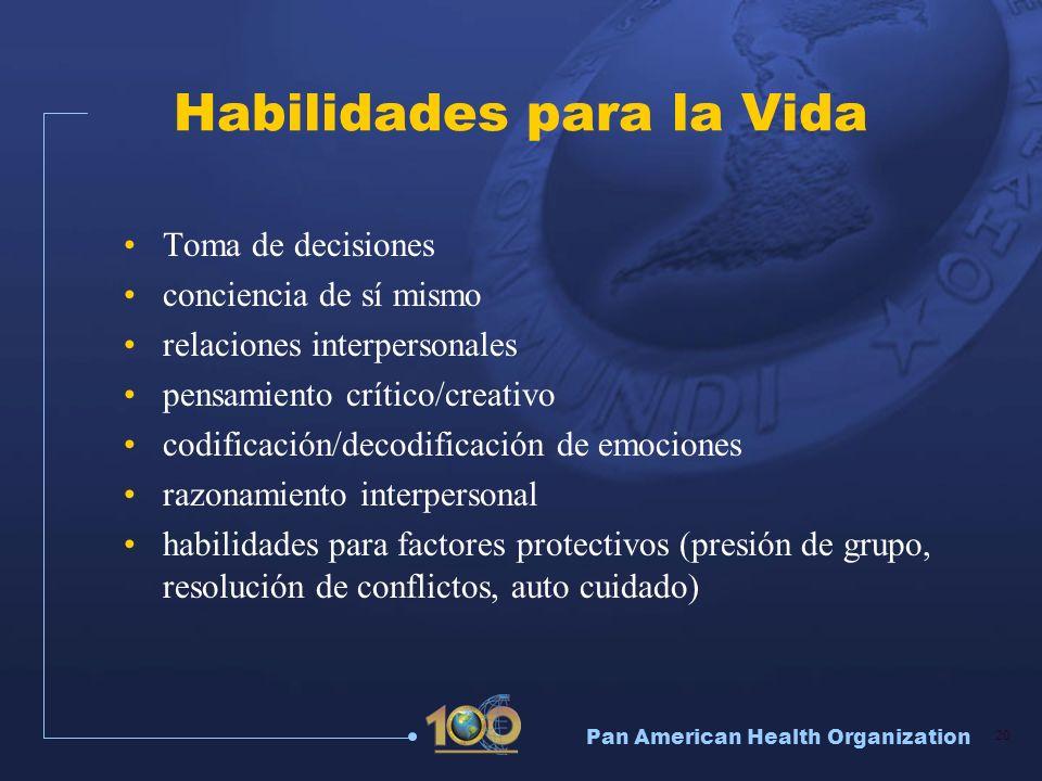 Pan American Health Organization 20 Habilidades para la Vida Toma de decisiones conciencia de sí mismo relaciones interpersonales pensamiento crítico/