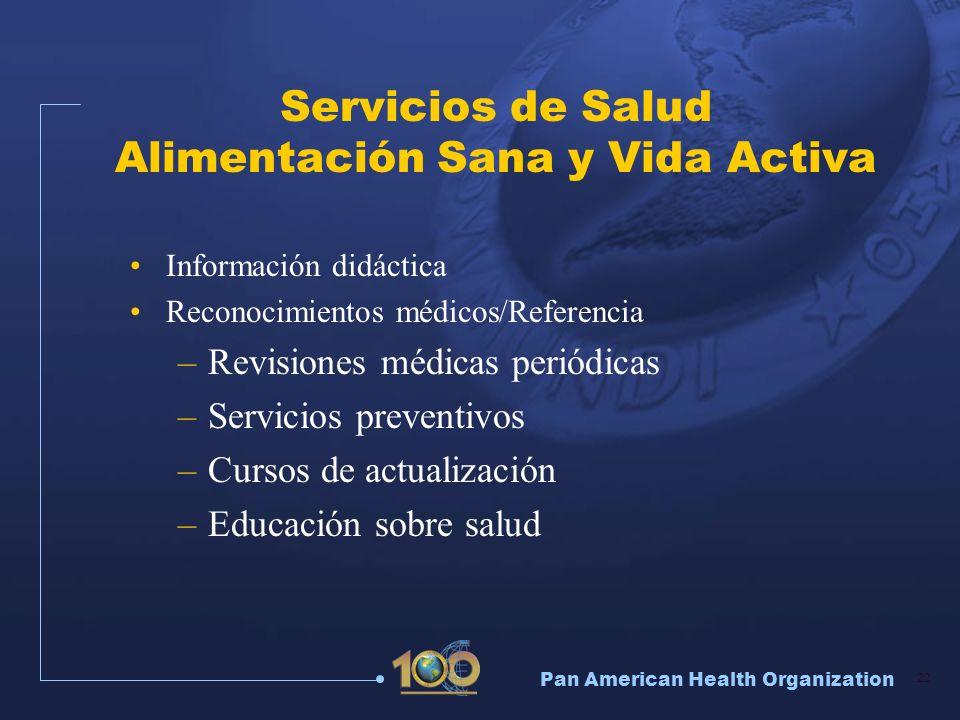 Pan American Health Organization 22 Servicios de Salud Alimentación Sana y Vida Activa Información didáctica Reconocimientos médicos/Referencia –Revis