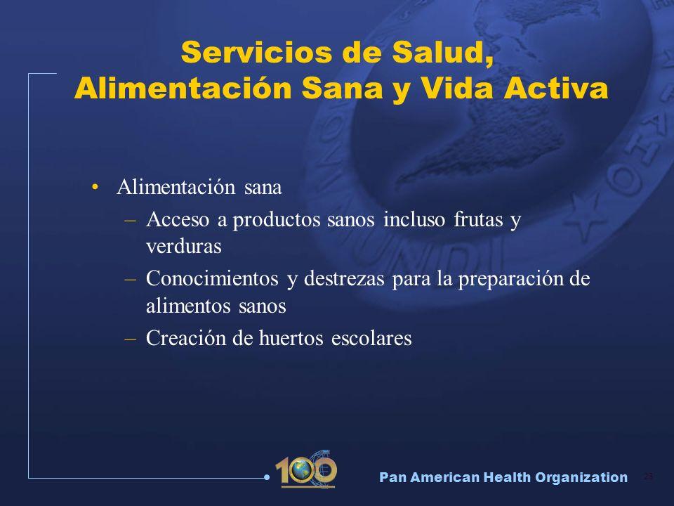 Pan American Health Organization 23 Servicios de Salud, Alimentación Sana y Vida Activa Alimentación sana –Acceso a productos sanos incluso frutas y v