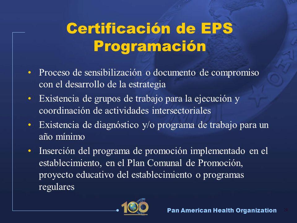 Pan American Health Organization 29 Certificación de EPS Programación Proceso de sensibilización o documento de compromiso con el desarrollo de la est