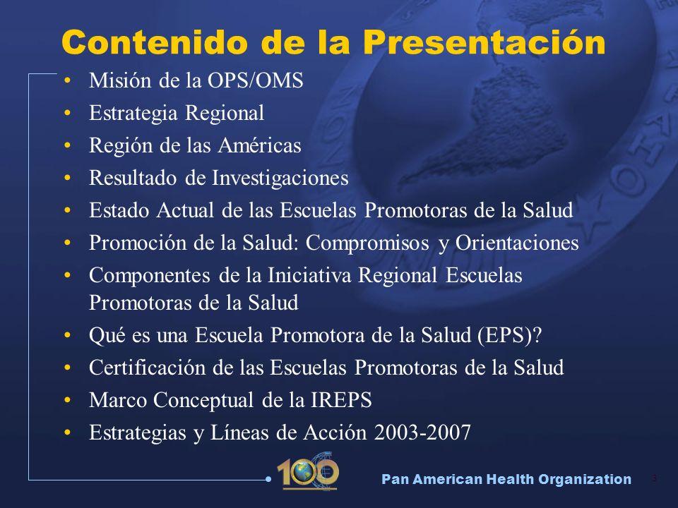 Pan American Health Organization 4 Misión de la Organización Panamericana de la Salud Liderar esfuerzos colaborativos estratégicos entre los Estados Miembros y otros aliados, para promover la equidad en salud, combatir la enfermedad, y mejorar la calidad y prolongar la duración de la vida de la población de las Américas.