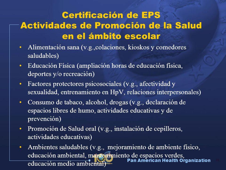 Pan American Health Organization 30 Certificación de EPS Actividades de Promoción de la Salud en el ámbito escolar Alimentación sana (v.g.,colaciones,