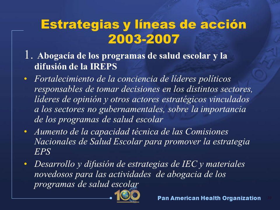 Pan American Health Organization 36 Estrategias y líneas de acción 2003-2007 1. Abogacía de los programas de salud escolar y la difusión de la IREPS F