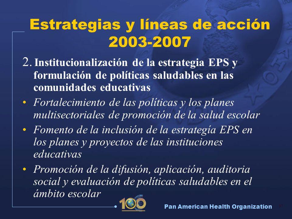 Pan American Health Organization 37 Estrategias y líneas de acción 2003-2007 2. Institucionalización de la estrategia EPS y formulación de políticas s