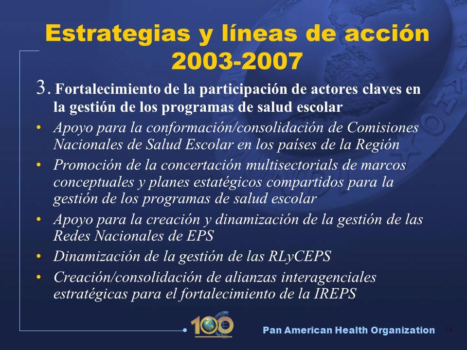 Pan American Health Organization 38 Estrategias y líneas de acción 2003-2007 3. Fortalecimiento de la participación de actores claves en la gestión de