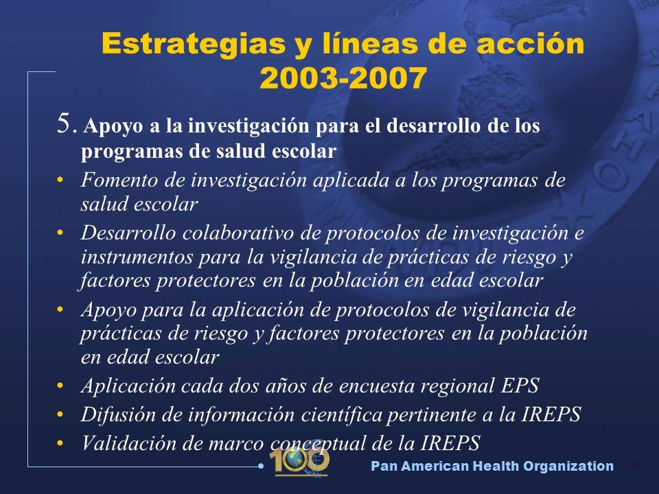 Pan American Health Organization 40 Estrategias y líneas de acción 2003-2007 5. Apoyo a la investigación para el desarrollo de los programas de salud