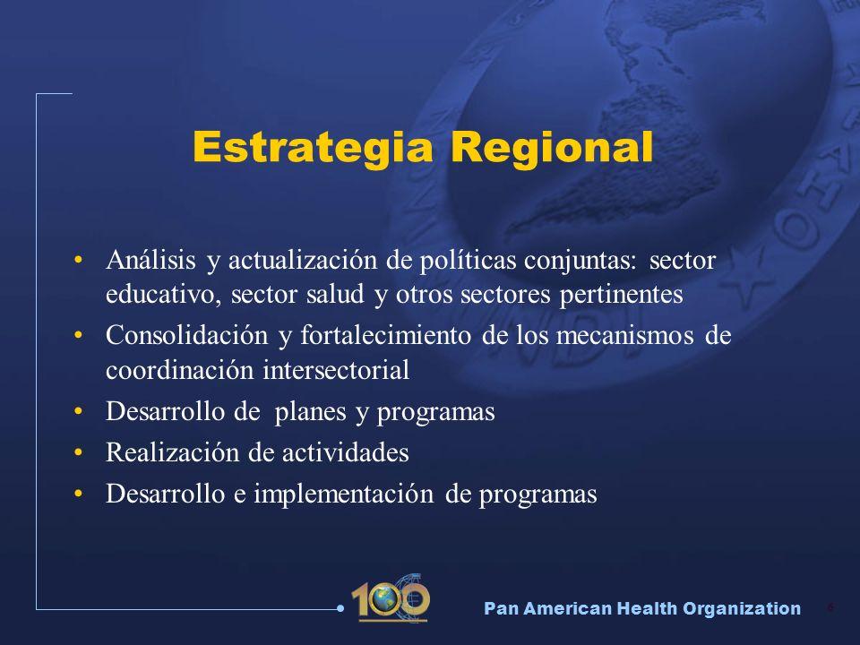 Pan American Health Organization 17 Escuelas Promotoras de la Salud Componentes Educación para la salud con un enfoque integral, incluso enseñanza de HpV Creación y mantenimiento de entornos saludables Servicios de salud, alimentación sana y vida activa