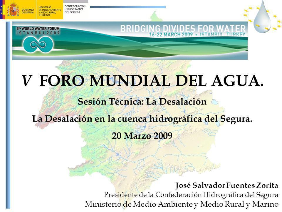 1 V FORO MUNDIAL DEL AGUA. Sesión Técnica: La Desalación La Desalación en la cuenca hidrográfica del Segura. 20 Marzo 2009 José Salvador Fuentes Zorit