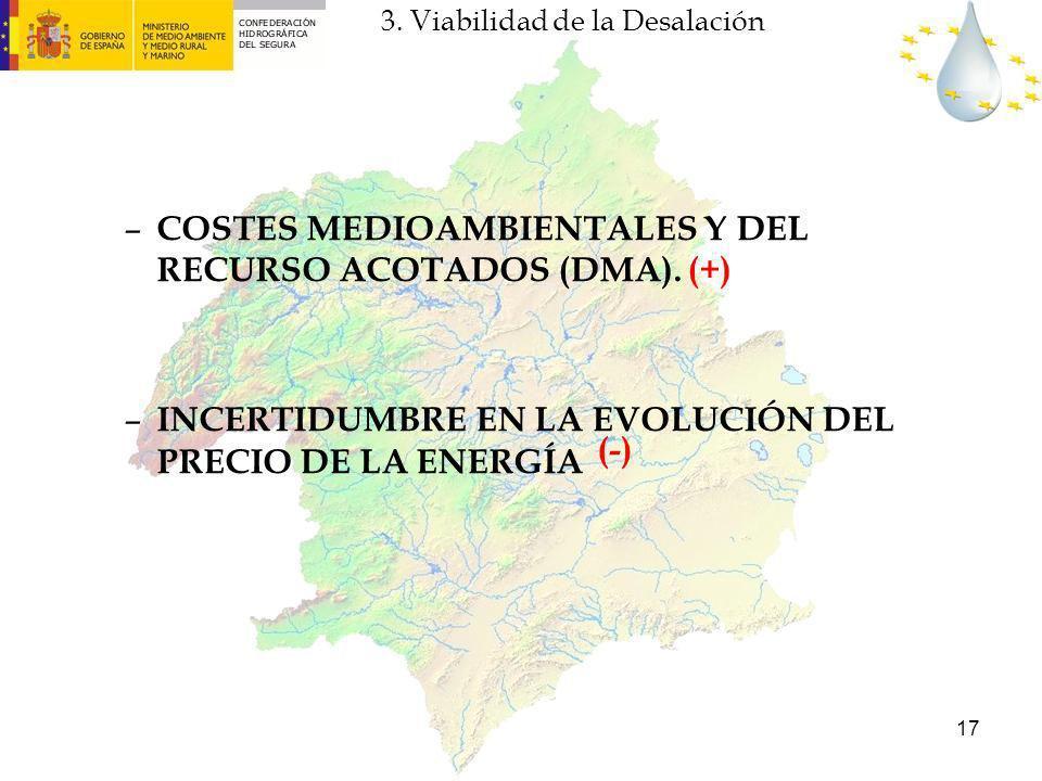 17 – COSTES MEDIOAMBIENTALES Y DEL RECURSO ACOTADOS (DMA). – INCERTIDUMBRE EN LA EVOLUCIÓN DEL PRECIO DE LA ENERGÍA (+) (-) 3. Viabilidad de la Desala