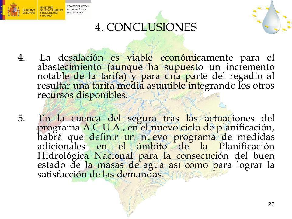 22 4. La desalación es viable económicamente para el abastecimiento (aunque ha supuesto un incremento notable de la tarifa) y para una parte del regad