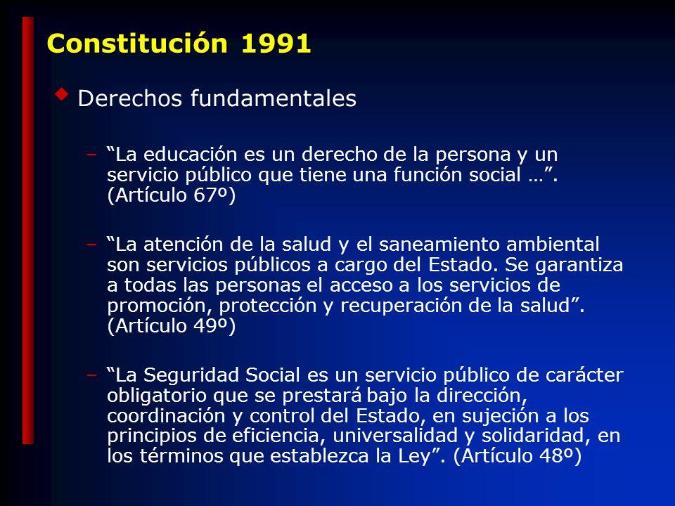 Constitución 1991 Derechos fundamentales –La educación es un derecho de la persona y un servicio público que tiene una función social ….