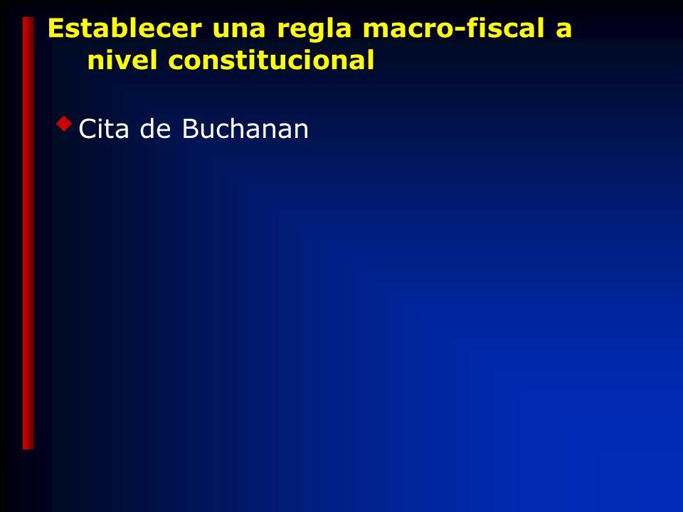 Establecer una regla macro-fiscal a nivel constitucional Cita de Buchanan