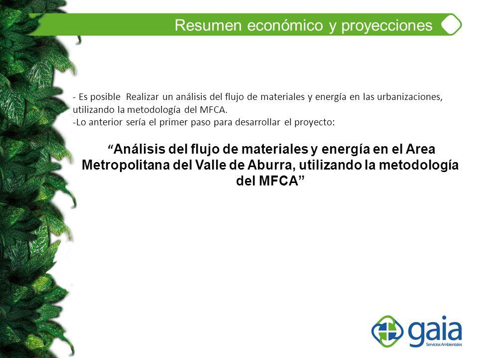 Resumen económico y proyecciones - Es posible Realizar un análisis del flujo de materiales y energía en las urbanizaciones, utilizando la metodología