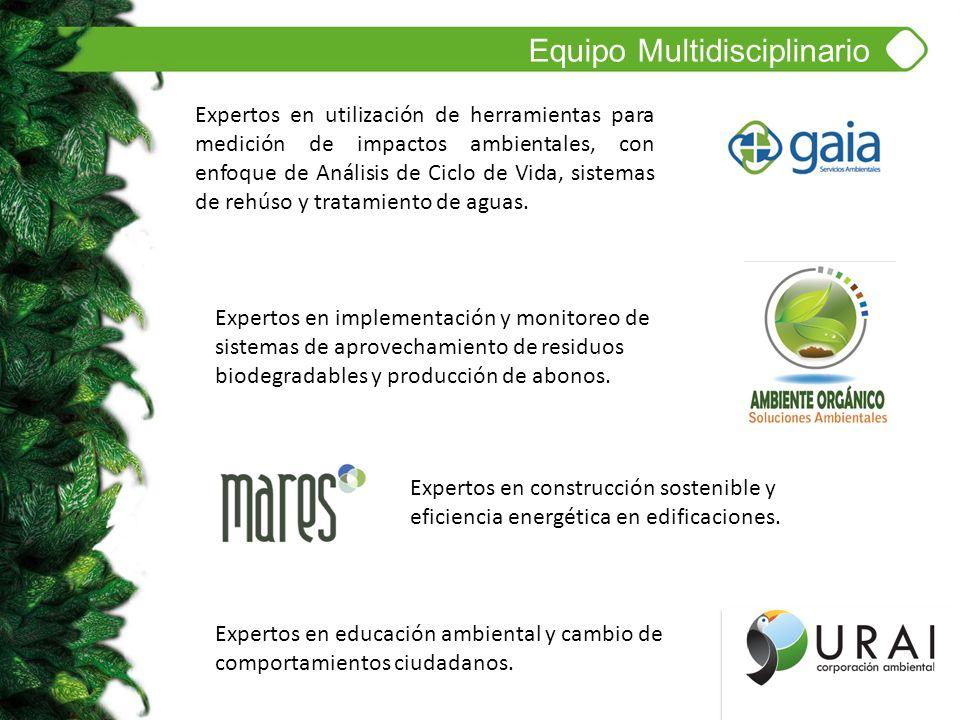 Equipo Multidisciplinario Expertos en educación ambiental y cambio de comportamientos ciudadanos. Expertos en implementación y monitoreo de sistemas d