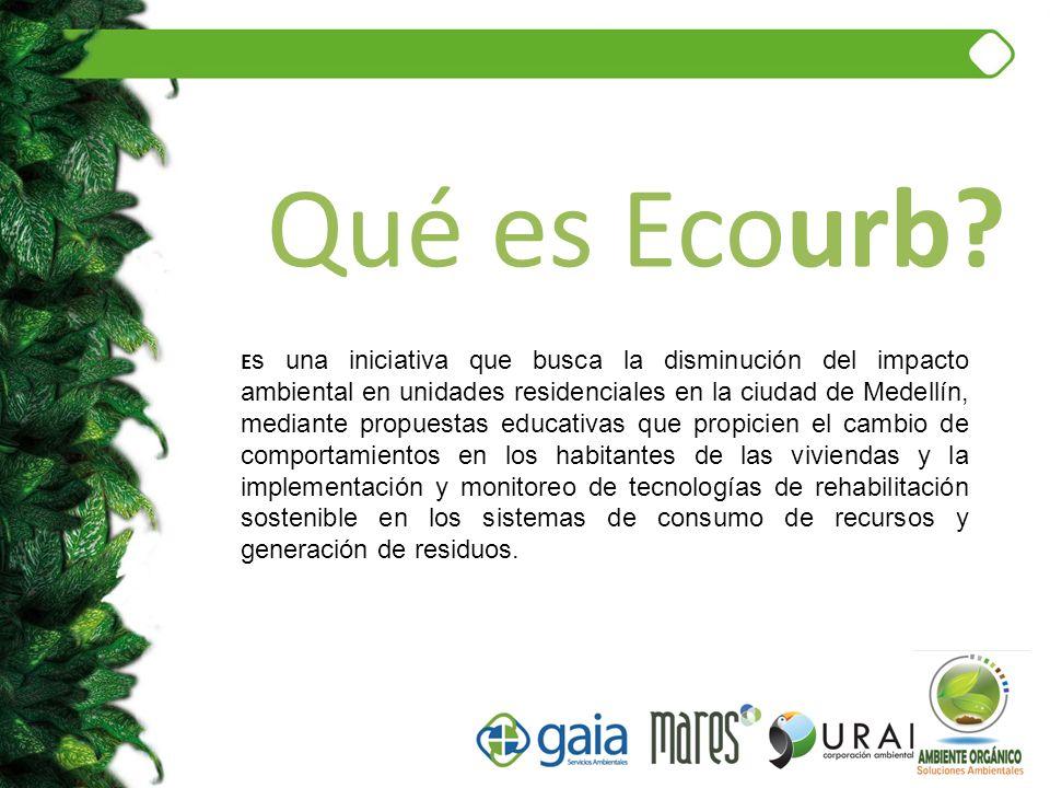 Qué es Ecourb? E s una iniciativa que busca la disminución del impacto ambiental en unidades residenciales en la ciudad de Medellín, mediante propuest
