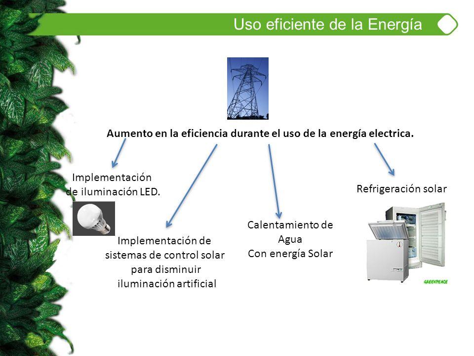Uso eficiente de la Energía Aumento en la eficiencia durante el uso de la energía electrica. Implementación de iluminación LED. Calentamiento de Agua