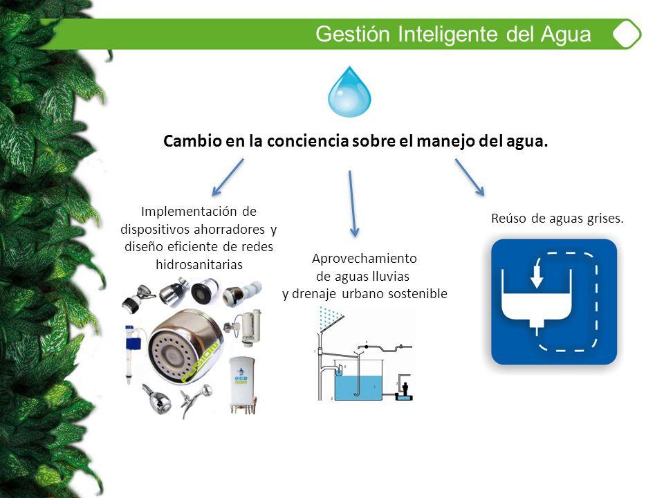 Gestión Inteligente del Agua Cambio en la conciencia sobre el manejo del agua. Implementación de dispositivos ahorradores y diseño eficiente de redes