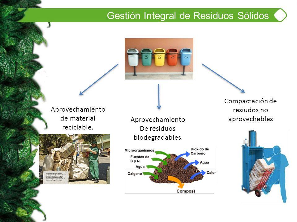 Gestión Integral de Residuos Sólidos Aprovechamiento De residuos biodegradables. Aprovechamiento de material reciclable. Compactación de resiudos no a