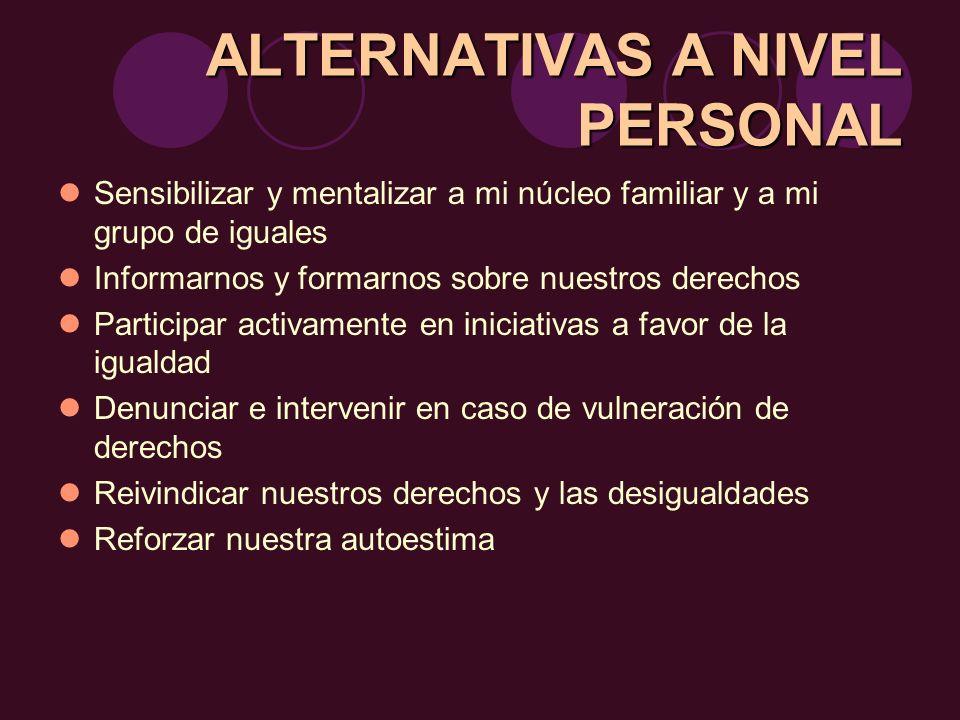 ALTERNATIVASA NIVEL PERSONAL ALTERNATIVAS A NIVEL PERSONAL Sensibilizar y mentalizar a mi núcleo familiar y a mi grupo de iguales Informarnos y formar