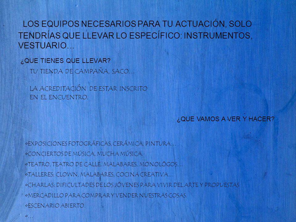 SI QUIERES ACTUAR: APUNTATE ANTES DEL 2 JUNIO PARA CONFIGURAR EL PROGRAMA DEFINITO.