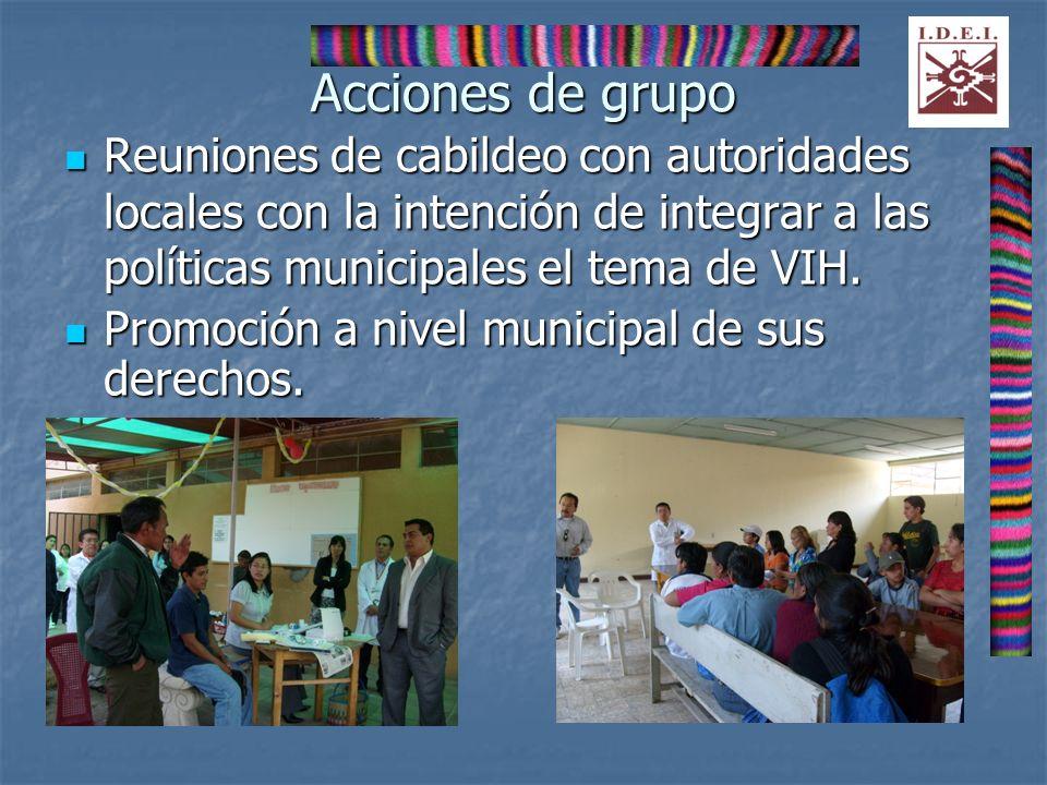 Acciones de grupo Reuniones de cabildeo con autoridades locales con la intención de integrar a las políticas municipales el tema de VIH. Reuniones de