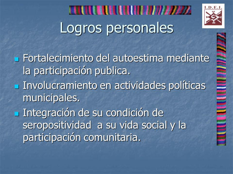 Logros personales Fortalecimiento del autoestima mediante la participación publica. Fortalecimiento del autoestima mediante la participación publica.