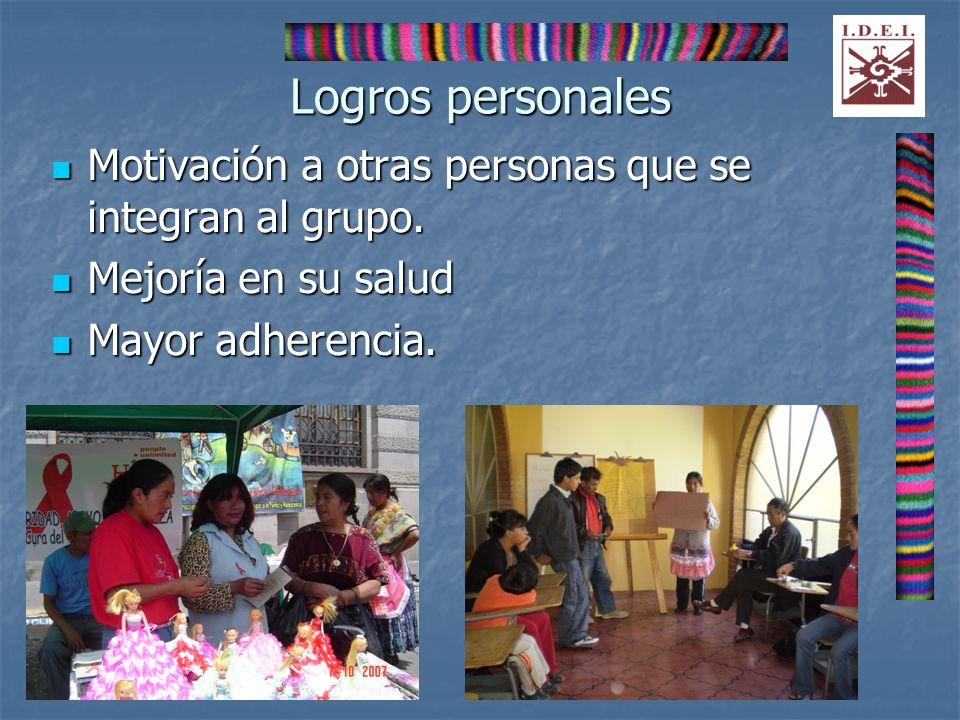 Logros personales Motivación a otras personas que se integran al grupo. Motivación a otras personas que se integran al grupo. Mejoría en su salud Mejo