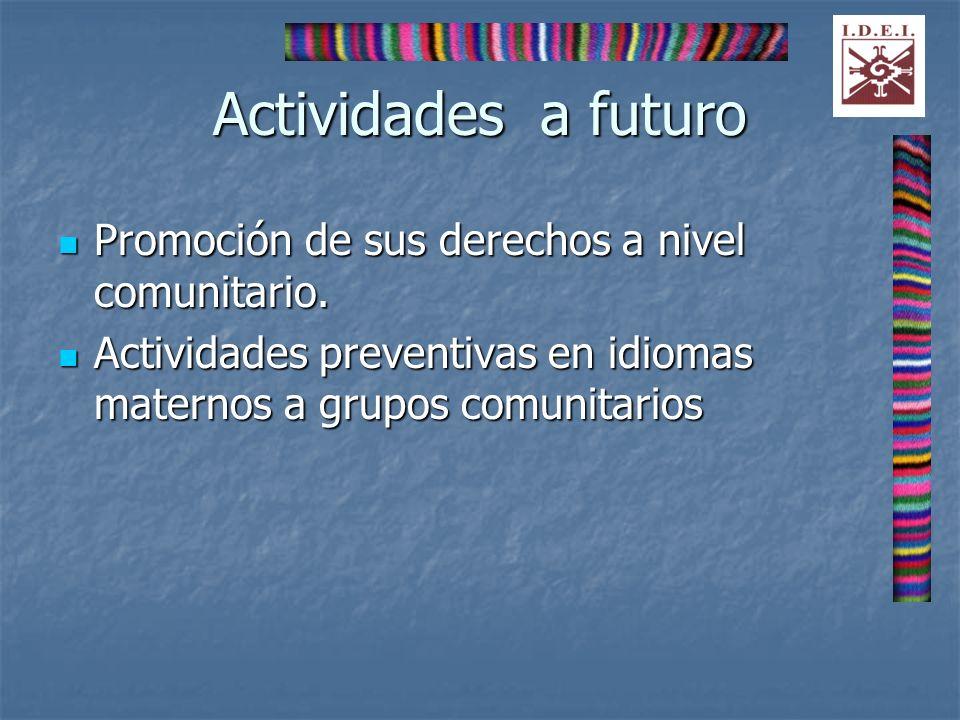 Actividades a futuro Promoción de sus derechos a nivel comunitario. Promoción de sus derechos a nivel comunitario. Actividades preventivas en idiomas