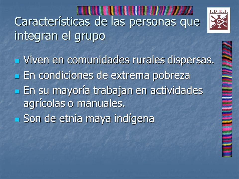 Características de las personas que integran el grupo Viven en comunidades rurales dispersas. Viven en comunidades rurales dispersas. En condiciones d