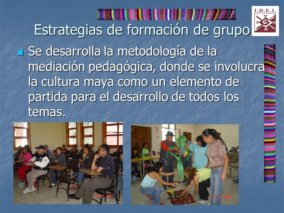 Estrategias de formación de grupo Se desarrolla la metodología de la mediación pedagógica, donde se involucra la cultura maya como un elemento de part