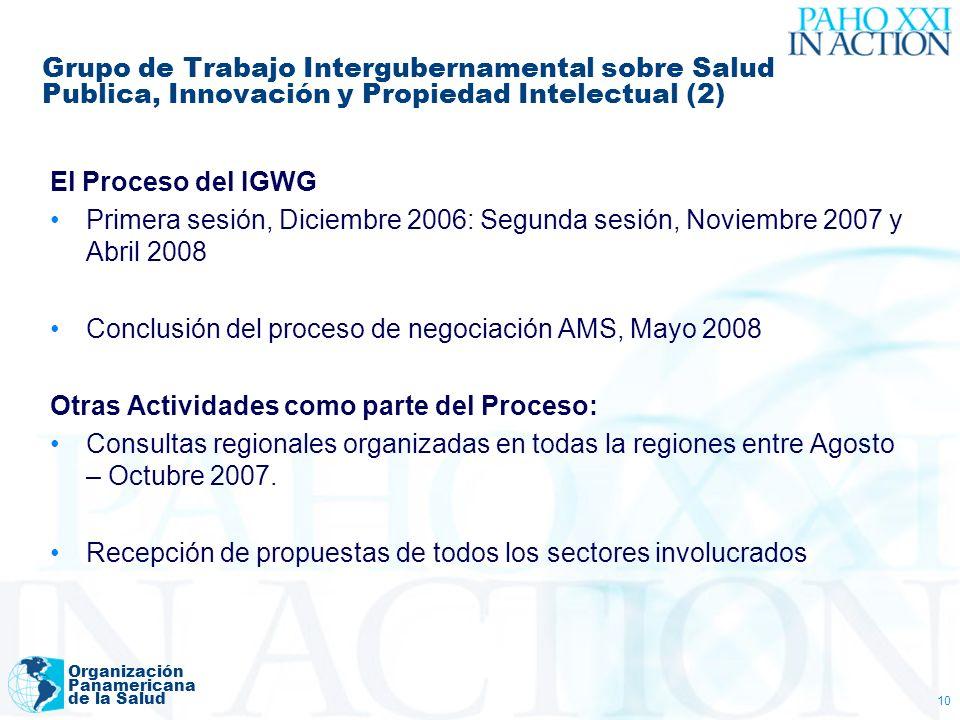 Organización Panamericana de la Salud 10 Grupo de Trabajo Intergubernamental sobre Salud Publica, Innovación y Propiedad Intelectual (2) El Proceso de