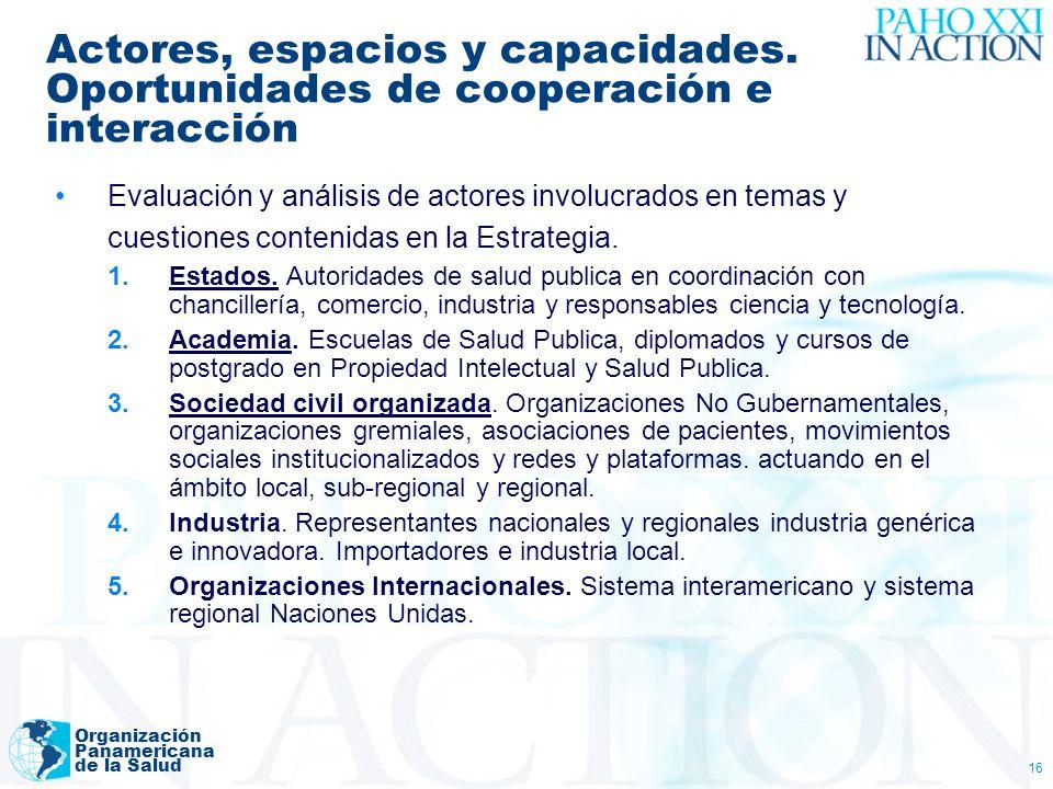 Organización Panamericana de la Salud 16 Actores, espacios y capacidades. Oportunidades de cooperación e interacción Evaluación y análisis de actores