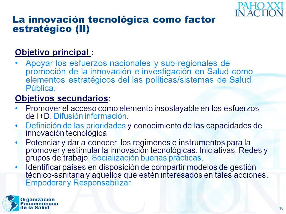 Organización Panamericana de la Salud 18 La innovación tecnológica como factor estratégico (II) Objetivo principal : Apoyar los esfuerzos nacionales y