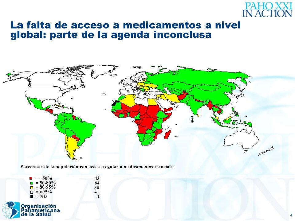 Organización Panamericana de la Salud 4 La falta de acceso a medicamentos a nivel global: parte de la agenda inconclusa Porcentaje de la populación co