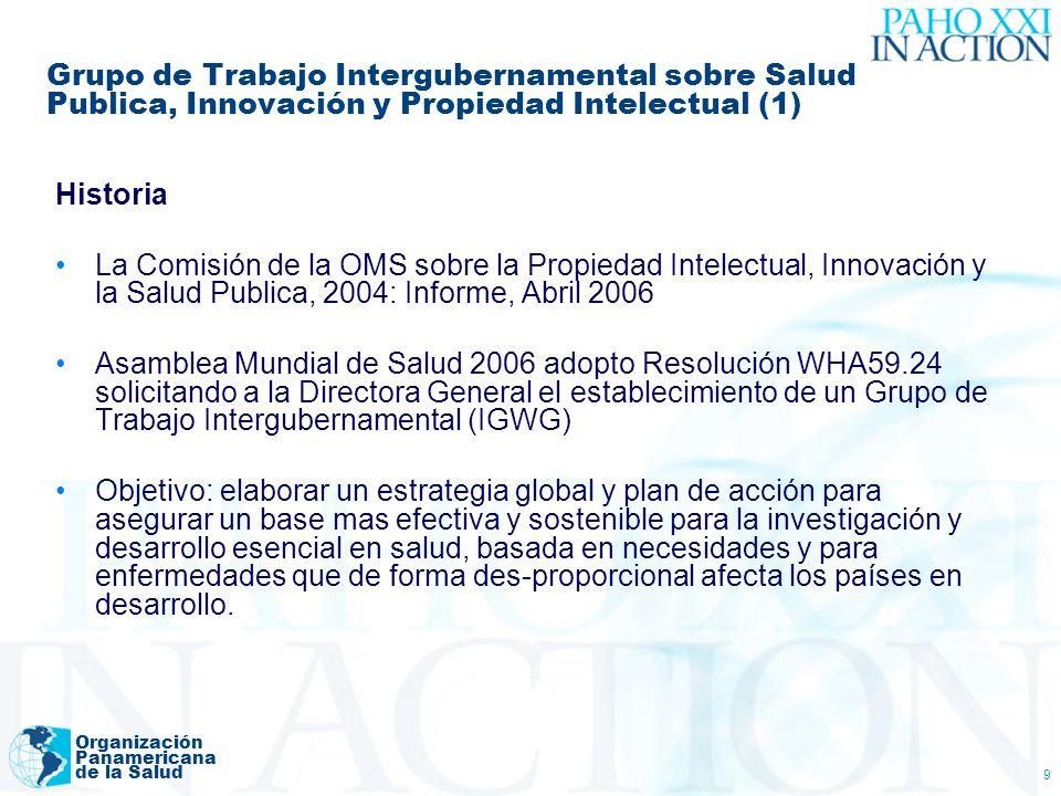 Organización Panamericana de la Salud 9 Grupo de Trabajo Intergubernamental sobre Salud Publica, Innovación y Propiedad Intelectual (1) Historia La Co