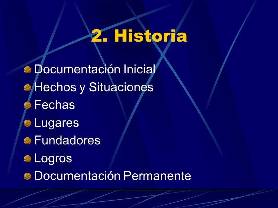 2. Historia Documentación Inicial Hechos y Situaciones Fechas Lugares Fundadores Logros Documentación Permanente