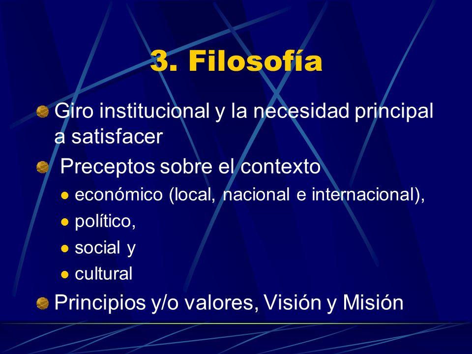 3. Filosofía Giro institucional y la necesidad principal a satisfacer Preceptos sobre el contexto económico (local, nacional e internacional), polític