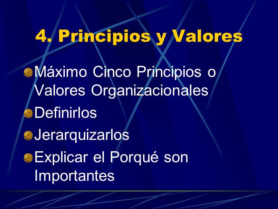 4. Principios y Valores Máximo Cinco Principios o Valores Organizacionales Definirlos Jerarquizarlos Explicar el Porqué son Importantes