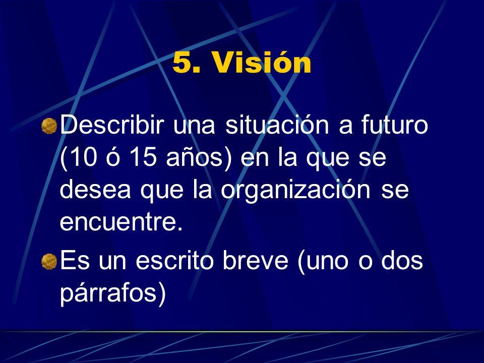 5. Visión Describir una situación a futuro (10 ó 15 años) en la que se desea que la organización se encuentre. Es un escrito breve (uno o dos párrafos