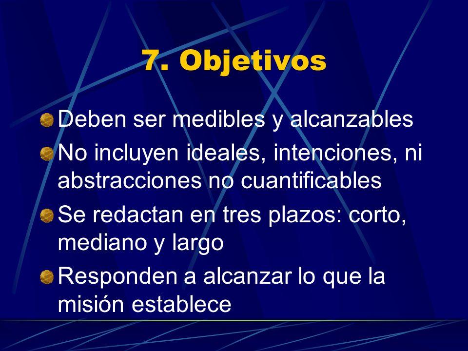 7. Objetivos Deben ser medibles y alcanzables No incluyen ideales, intenciones, ni abstracciones no cuantificables Se redactan en tres plazos: corto,
