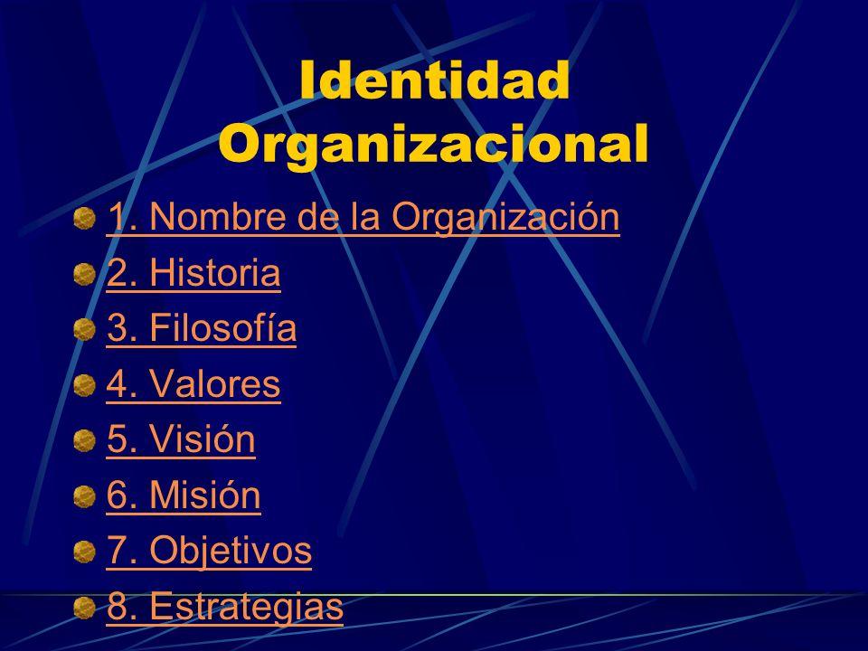 Identidad Organizacional 1. Nombre de la Organización 2. Historia 3. Filosofía 4. Valores 5. Visión 6. Misión 7. Objetivos 8. Estrategias