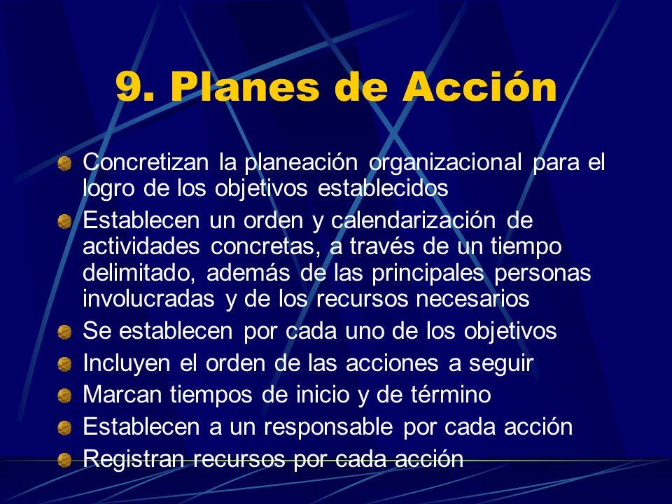 9. Planes de Acción Concretizan la planeación organizacional para el logro de los objetivos establecidos Establecen un orden y calendarización de acti