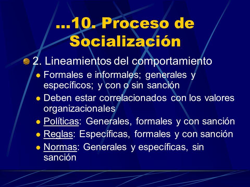…10. Proceso de Socialización 2. Lineamientos del comportamiento Formales e informales; generales y específicos; y con o sin sanción Deben estar corre
