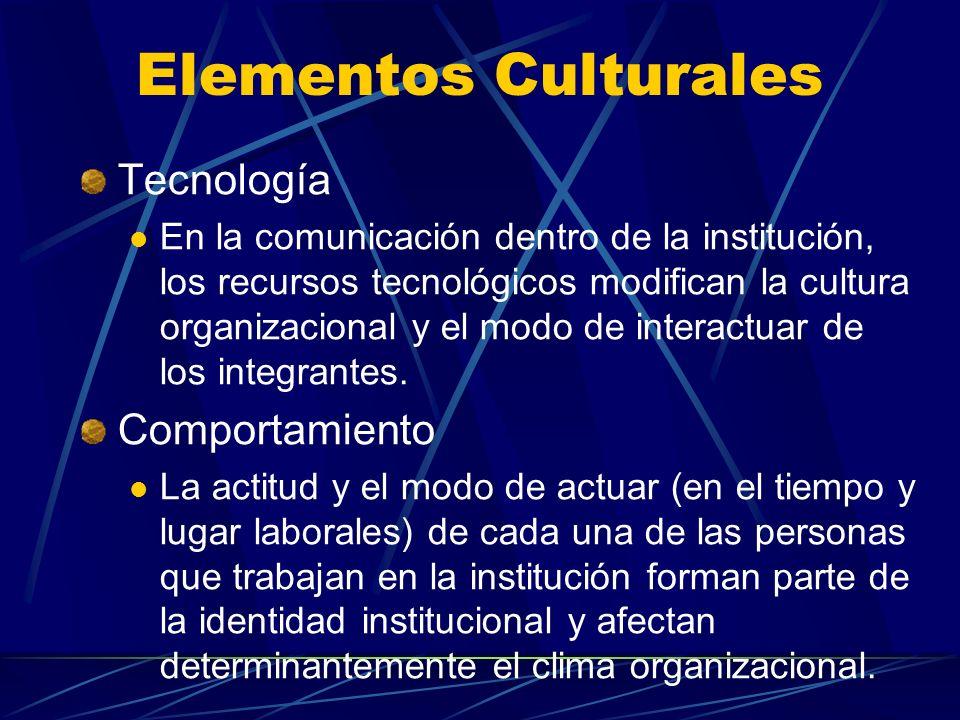 Elementos Culturales Tecnología En la comunicación dentro de la institución, los recursos tecnológicos modifican la cultura organizacional y el modo d