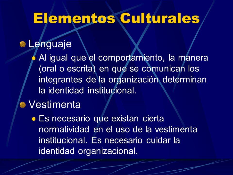 Elementos Culturales Lenguaje Al igual que el comportamiento, la manera (oral o escrita) en que se comunican los integrantes de la organización determ