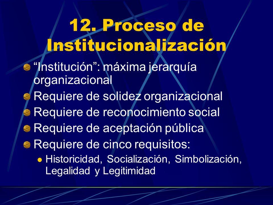 12. Proceso de Institucionalización Institución: máxima jerarquía organizacional Requiere de solidez organizacional Requiere de reconocimiento social