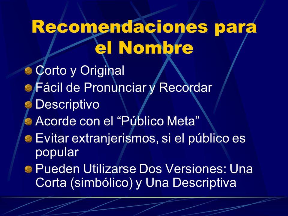 Recomendaciones para el Nombre Corto y Original Fácil de Pronunciar y Recordar Descriptivo Acorde con el Público Meta Evitar extranjerismos, si el púb
