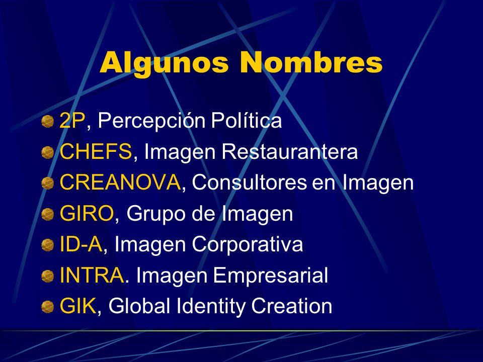 Algunos Nombres 2P, Percepción Política CHEFS, Imagen Restaurantera CREANOVA, Consultores en Imagen GIRO, Grupo de Imagen ID-A, Imagen Corporativa INT