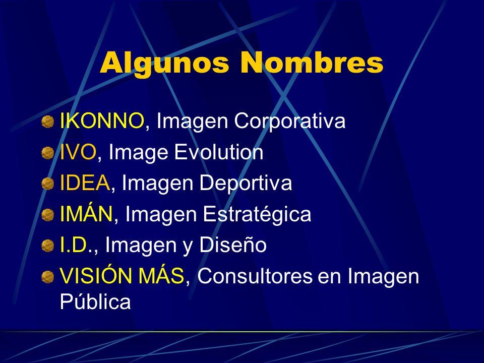 Algunos Nombres IKONNO, Imagen Corporativa IVO, Image Evolution IDEA, Imagen Deportiva IMÁN, Imagen Estratégica I.D., Imagen y Diseño VISIÓN MÁS, Cons