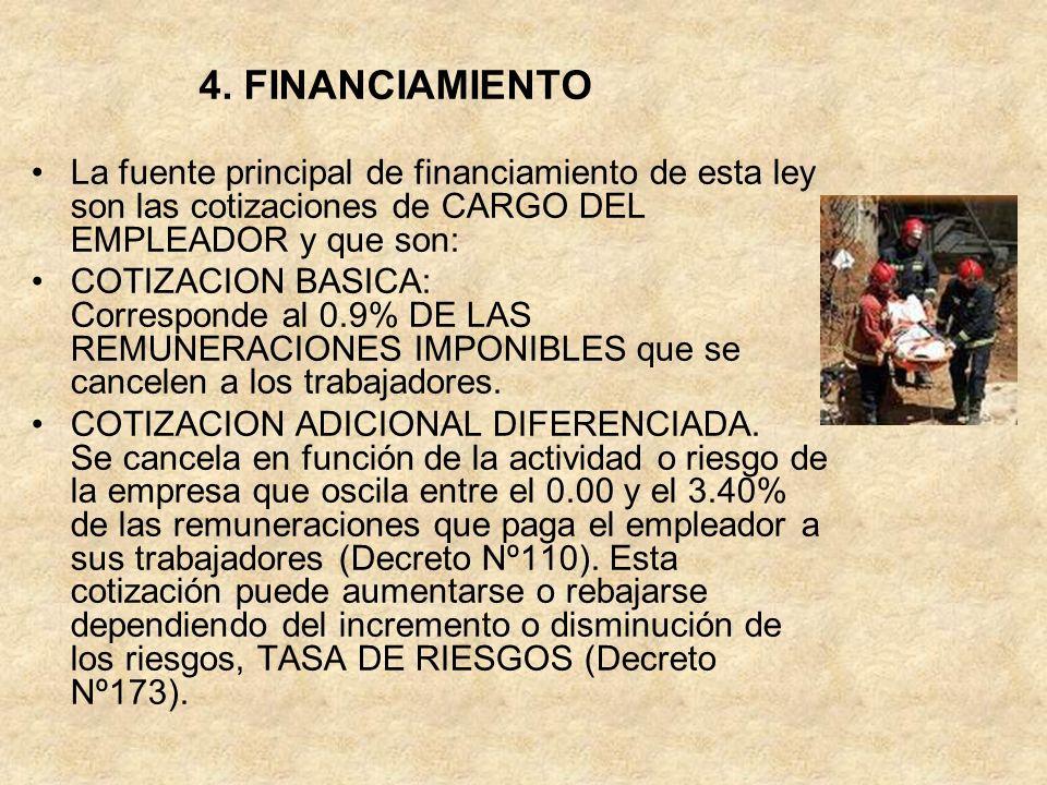 4. FINANCIAMIENTO La fuente principal de financiamiento de esta ley son las cotizaciones de CARGO DEL EMPLEADOR y que son: COTIZACION BASICA: Correspo